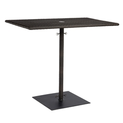 Woodard All Weather Wicker Rectangular Umbrella Bar Height Table with Weighted Base - S593938