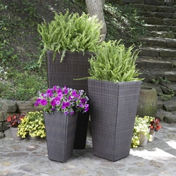 Woodard All Weather Wicker Set of 3 Planters - WD-WICKER-SET10
