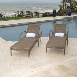 Woodard All Weather Wicker Miami Stacking Adjustable Chaise Loungers Set of 2 - WD-WICKER-SET6