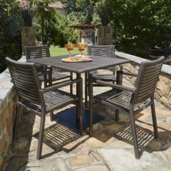 Woodard All Weather Wicker South Beach Outdoor Dining Set for 4 - WD-WICKER-SET7