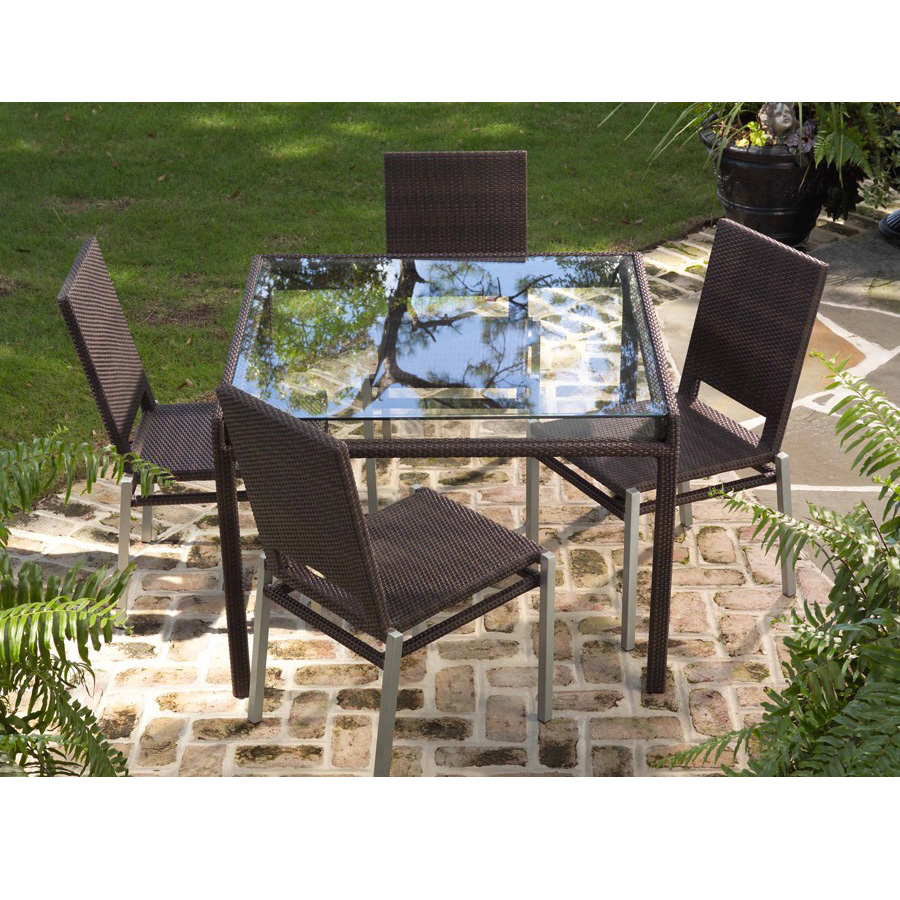 Woodard all weather wicker pacific dining side chair s602511 for All weather outdoor furniture