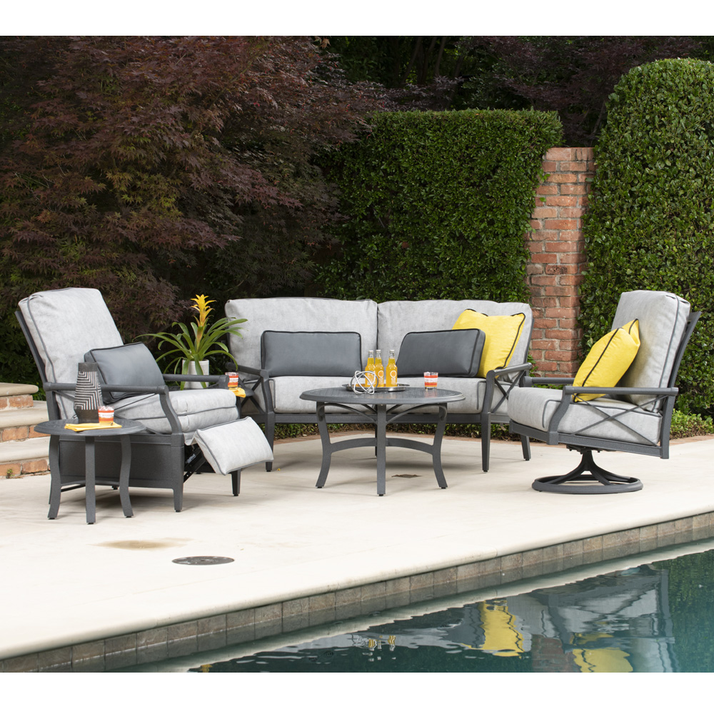 Woodard Andover Outdoor Patio Set with Recliner - WD-ANDOVER-SET5