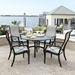 Woodard Andover Sling High Back Dining Set with Cast Top Table
