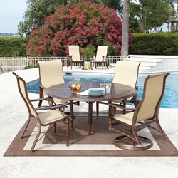 Woodard Arkadia Sling 5 Piece Dining Set with Round Table