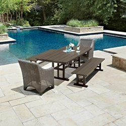 Woodard Augusta Patio Dining Set with Benches - WHITECRAFT-AUGUSTA-SET4