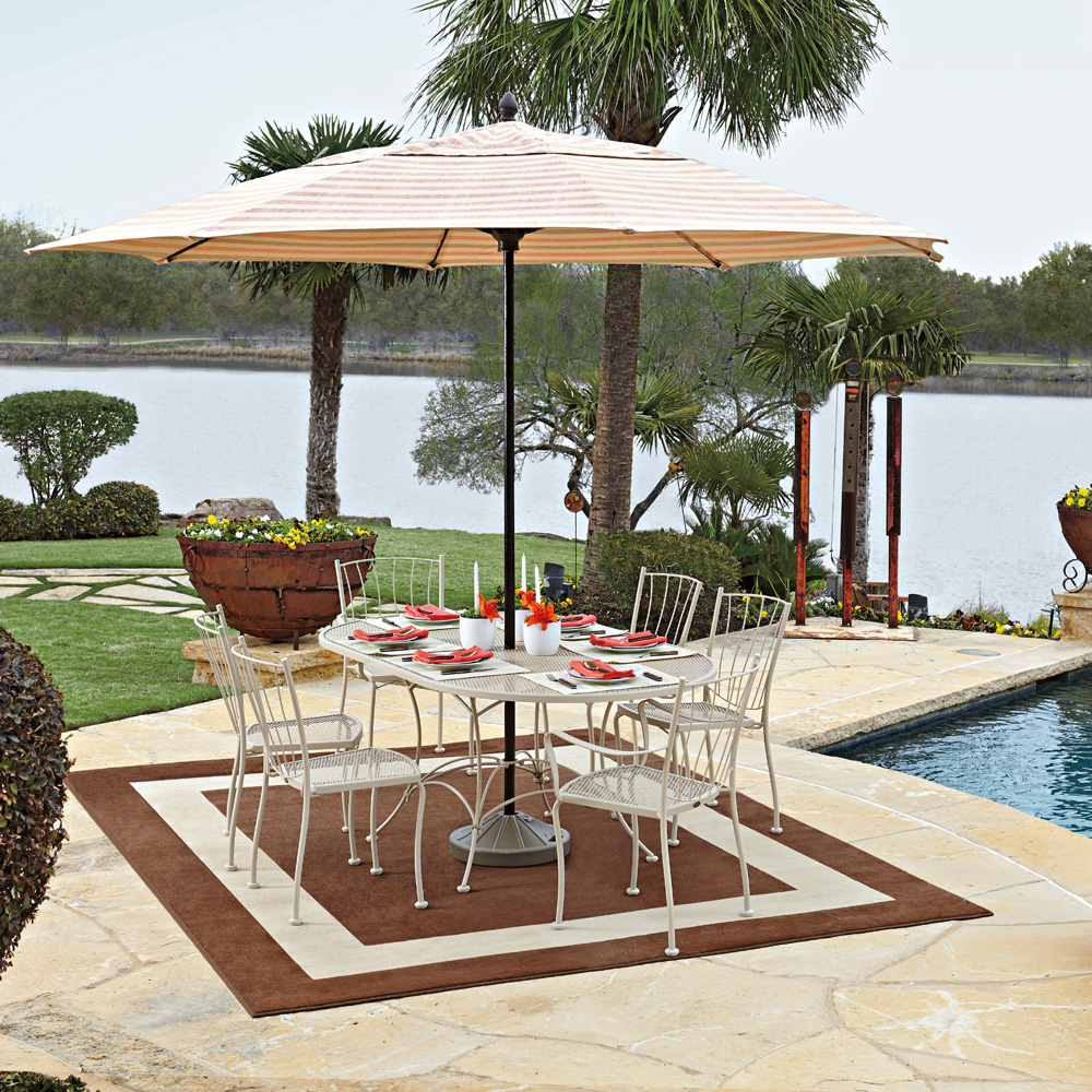 Woodard Aurora Wrought Iron Outdoor Dining Set for 6 - WD-AURORA-SET1