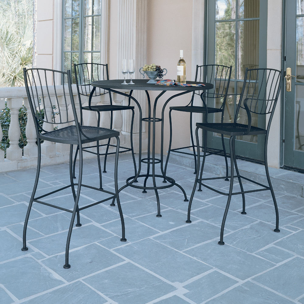 Woodard Aurora Wrought Iron Outdoor Bar Set for 4 - WD-AURORA-SET2