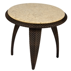 Woodard Bali End Table with Stone Top - S533203