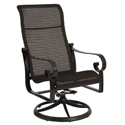 Woodard Belden Woven High Back Swivel Rocker Dining Arm Chair - 5J0466