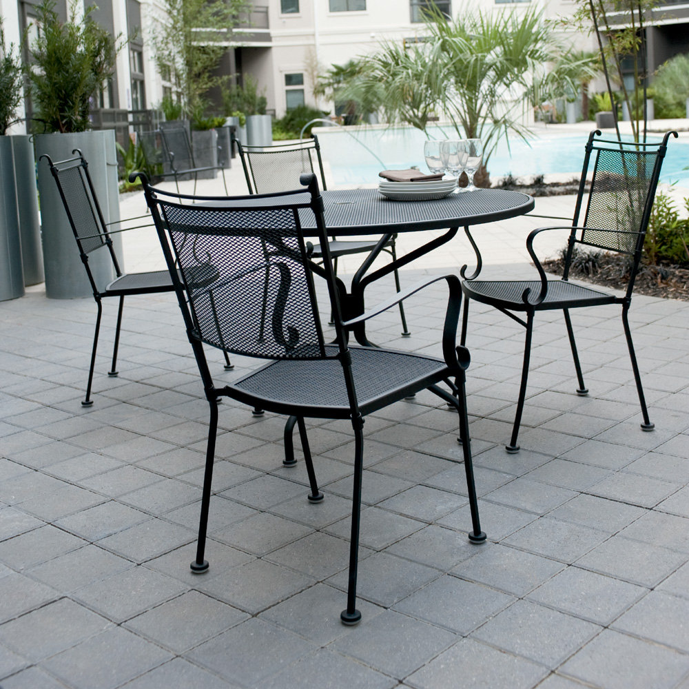 Woodard Bradford Wrought Iron Patio Dining Set for 4 - WD-BRADFORD-SET3