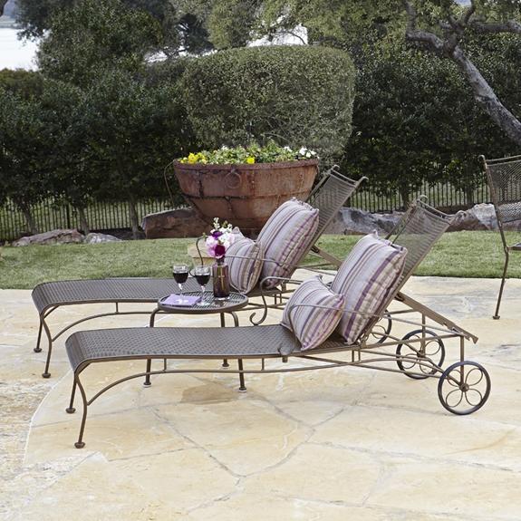 Woodard Bradford Wrought Iron 3 Piece Chaise Lounge Set