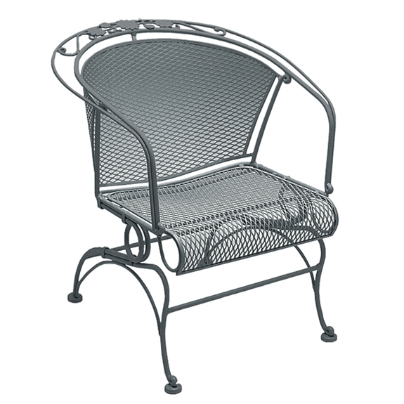Woodard Briarwood Wrought Iron Coil Spring Barrel Chair