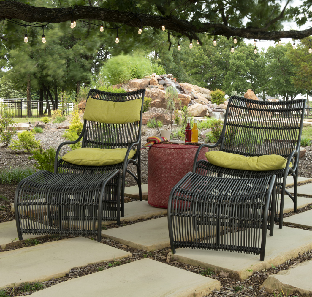Woodard Canaveral Rattan Wicker Lounge Chair and Ottoman Set - WD-CANAVERAL-SET11