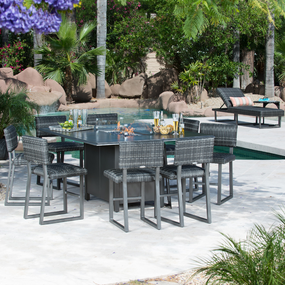 Woodard Canaveral Harper Counter Height Fire Pit Set Wd Set7