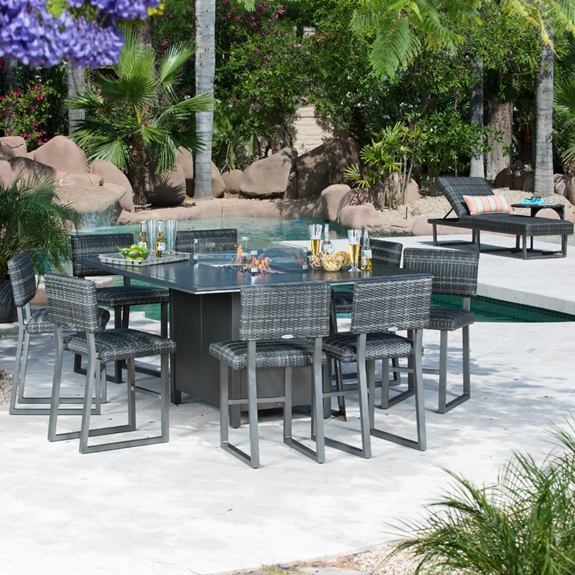 Woodard Canaveral Harper Counter Height Fire Pit Set Wd