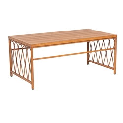 Woodard Cane Rectangular Slatted Top Umbrella Dining Table - S650703