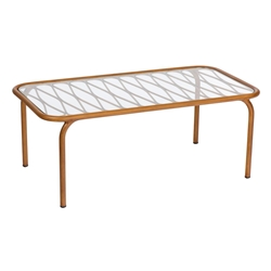 Woodard Cane Coffee Table with Glass Top - S650211