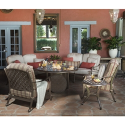 Woodard Casa Fire Pit Outdoor Furniture Set - WD-CASA-SET7