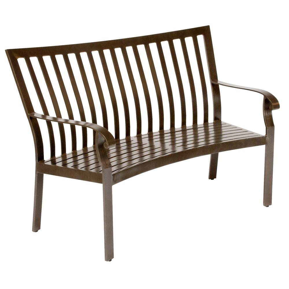 Woodard Cortland Cushion Crescent Shaped Bench 4z0494