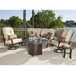 Woodard Cortland Extra Large Swivel Rocker and Crescent Love Seat Fire Table Set - WD-CORTLAND-SET4