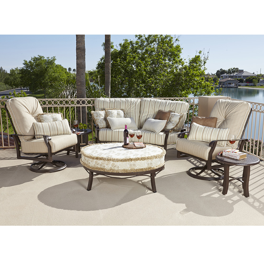 Superb Woodard Cortland Crescent Loveseat And Extra Large Swivel Rocker Set   WD  CORTLAND SET5