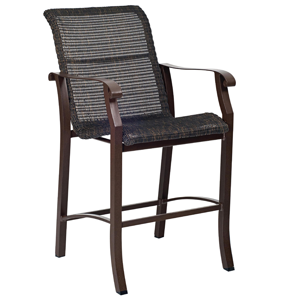Woodard Cortland Woven High Back Dining Arm Chair 5v0426
