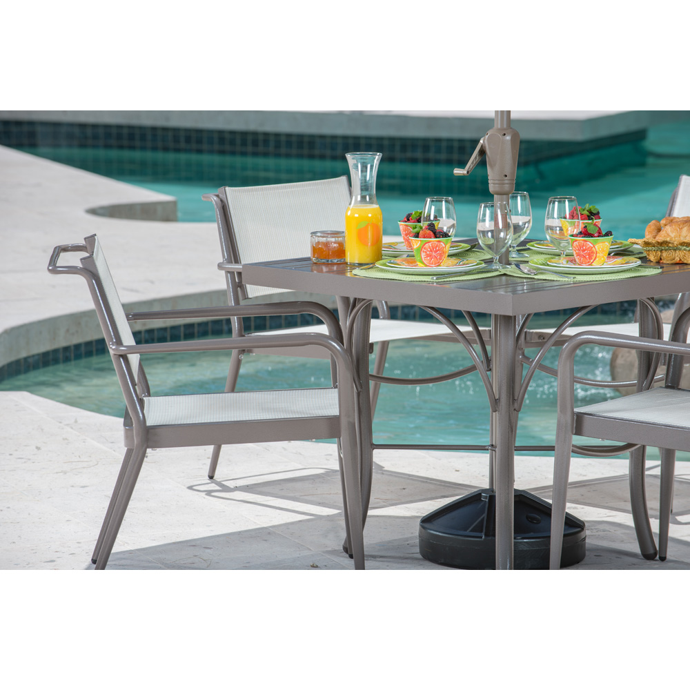 Woodard Daytona Sling Dining Arm Chair - Stacking | 120417