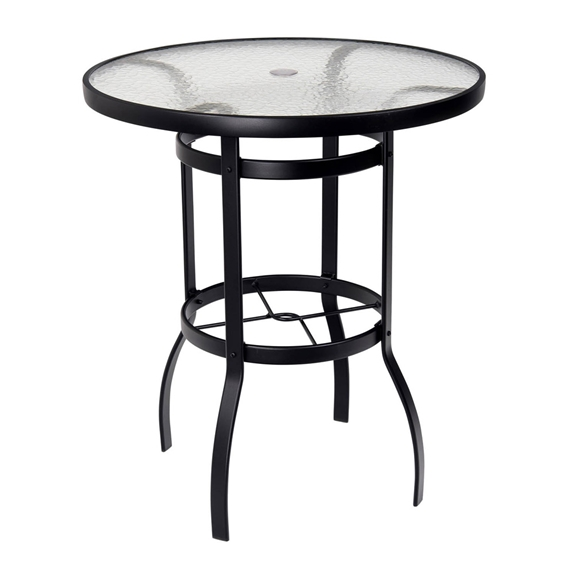 Woodard Deluxe 36 Round Glass Top Bar, Outdoor Glass Top Bar Table