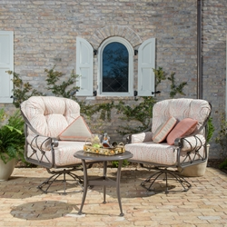 Woodard Derby Wrought Iron Swivel Rocker Lounge Chairs and Side Table Set - WD-DERBY-SET4
