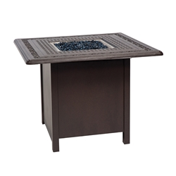 Woodard Aluminum Dining Fire Table with Square Burner - 1CM1SQSB