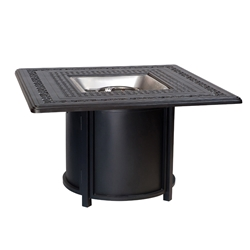 Woodard Round Base Aluminum Chat Fire Table with Square Top - 65M741