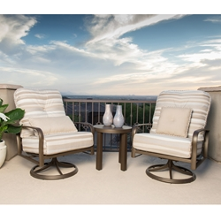 Woodard Freemont Aluminum Cushion Swivel Rocker Lounge Chair Set with Side Table - WD-FREEMONT-SET3