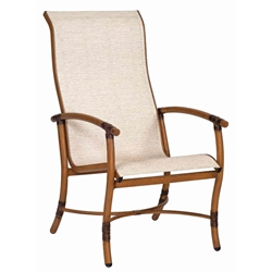 Woodard Glade Isle Sling High Back Dining Arm Chair - 1Q0426