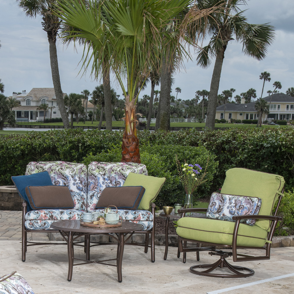Woodard Glade Isle Loveseat and Swivel Rocker Outdoor Furniture Set - WD-GLADEISLE-SET5