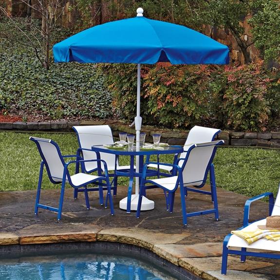 Woodard Sling Patio Furniture.Woodard Landings Aluminum Sling Outdoor Dining Set Wd Landings Set1