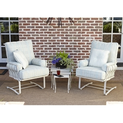 Woodard Maddox Wrought Iron Outdoor Spring Lounge Chair Set - WD-MADDOX-SET3