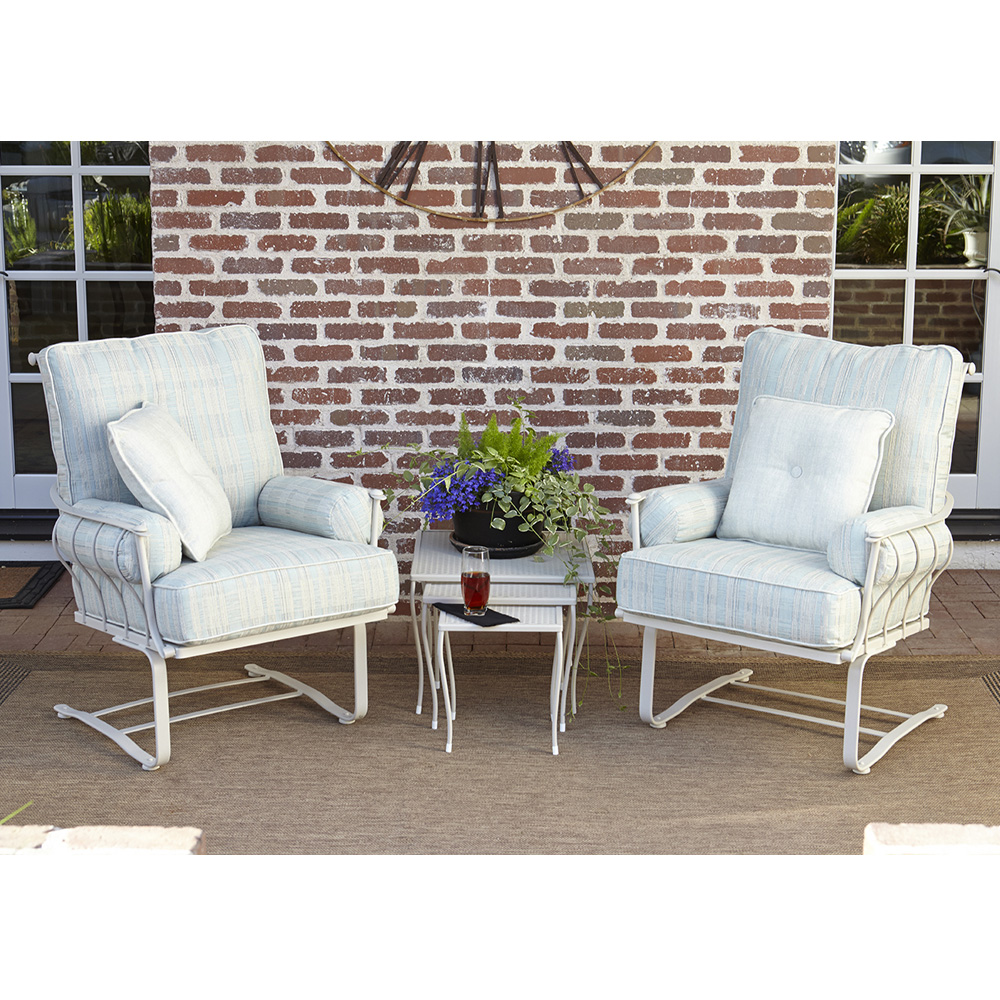 Woodard Maddox Wrought Iron Outdoor Spring Lounge Chair Set   WD MADDOX SET3