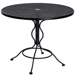 Woodard 36 Inch Round Mesh Top Set Up Bistro Umbrella Table - 190135