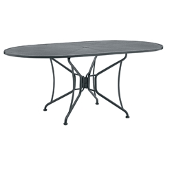 Woodard 42 inch by 72 inch Oval Premium Mesh Top RTA Umbrella Table - 190306