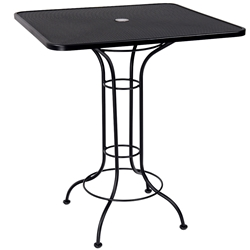 Woodard 36 Inch Square Mesh Top Bar-Height Set Up Umbrella Table - 220051