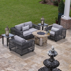 Woodard Monroe Modern Wicker Loveseat and Lounge Chair Patio Set - WD-MONROE-SET1