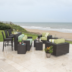 Woodard Montecito Wicker Patio Set with Loveseat Bar - WD-MONTECITO-SET2