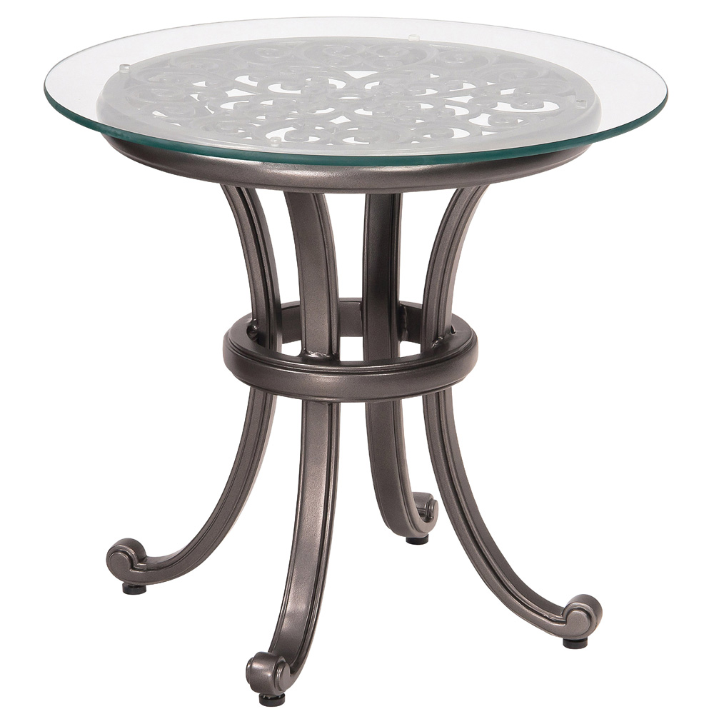 Woodard New Orleans End Table with Glass Top - 3W0439