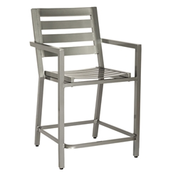 Woodard Palm Coast Slat Counter Stool with Arms - 1Y0471