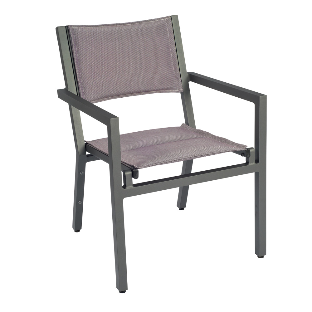 Woodard Palm Coast Padded Sling Stacking Dining Arm Chair   570517