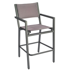Woodard Palm Coast Padded Sling Bar Stool With Arms - 570871