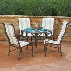 Woodard Ridgecrest Dining Set with High Back Sling Chairs - WD-RIDGECRESTSLING-SET2