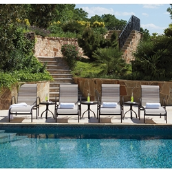 Woodard Rivington Sling Aluminum Chaise Lounge Set of 4 with Side Tables - WD-RIVINGTON-SET4