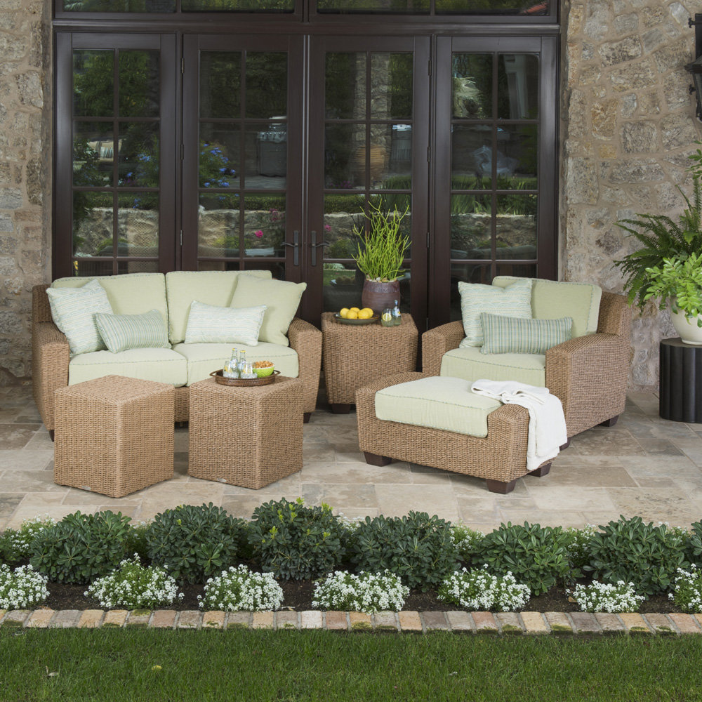 Woodard Saddleback Wicker Loveseat and Lounge Chair Patio Set - WD-SADDLEBACK-SET9