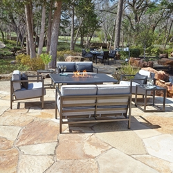 Woodard Salona Modern Fire Table Patio Set - WD-SALONA-SET4